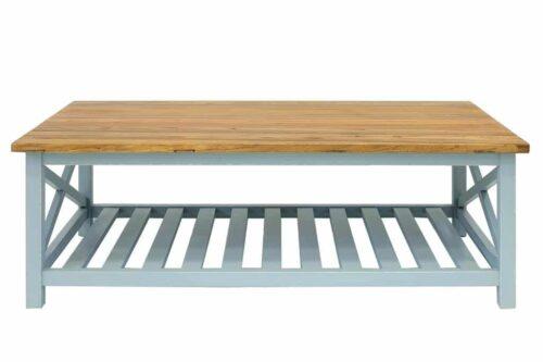 שולחן סלון טורקיז ועץ טבעי