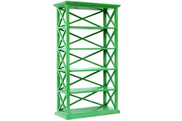 ארון מדפים ירוק מעץ