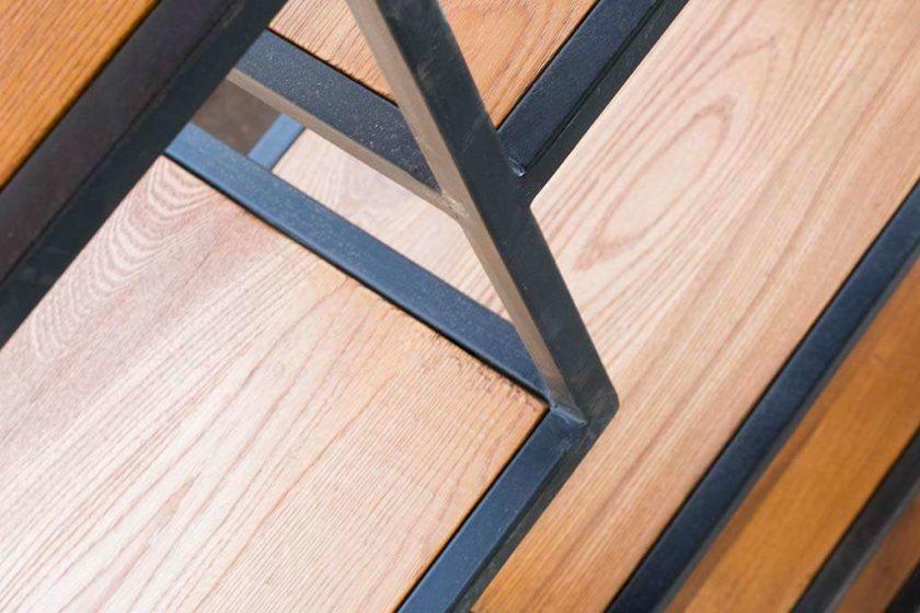 ארון מדפים עץ וברזל כוננית