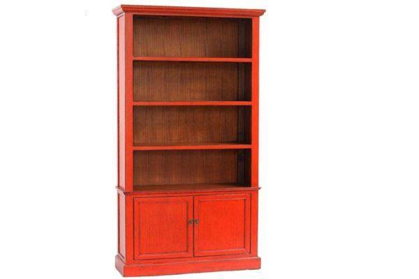 ארון ספרים כתום מעץ