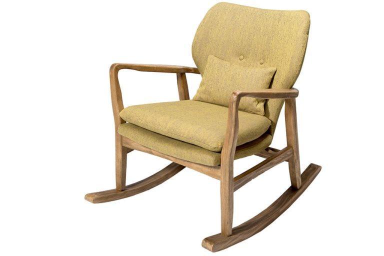 כסא נדנדה מרופד צהוב