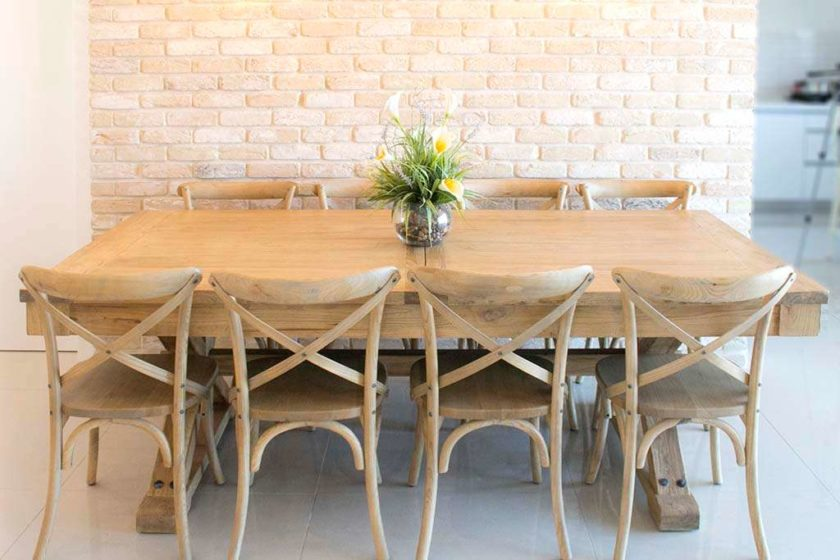 כסאות אוכל מעץ אלון מלא