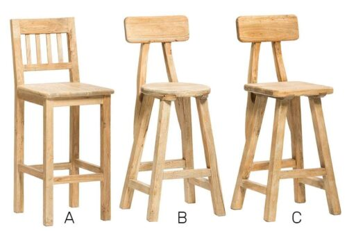 כסאות מעץ טבעי מלא בר