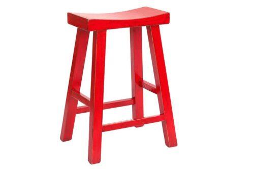 כסא בר אדום מעץ מלא