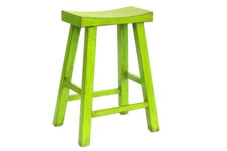 כסא בר ירוק מעץ מלא