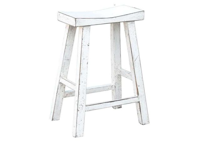 כסא בר לבן עץ מלא