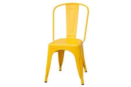 כסא צהוב ממתכת