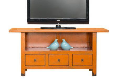 מזנון טלוויזיה כתום מעץ
