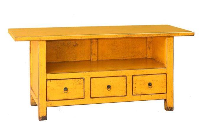 מזנון טלוויזיה צהוב מעץ