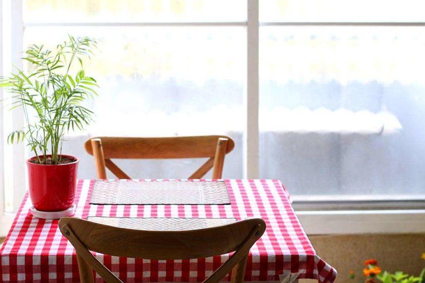 מפת שולחן משובצת אדום לבן