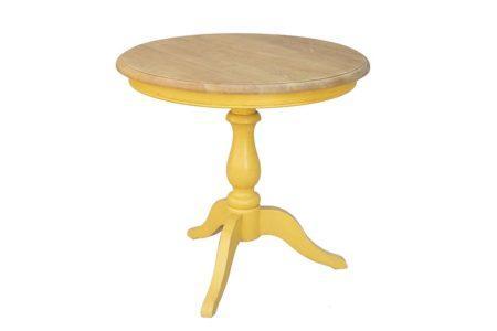 שולחן עגול לסלון חרדל