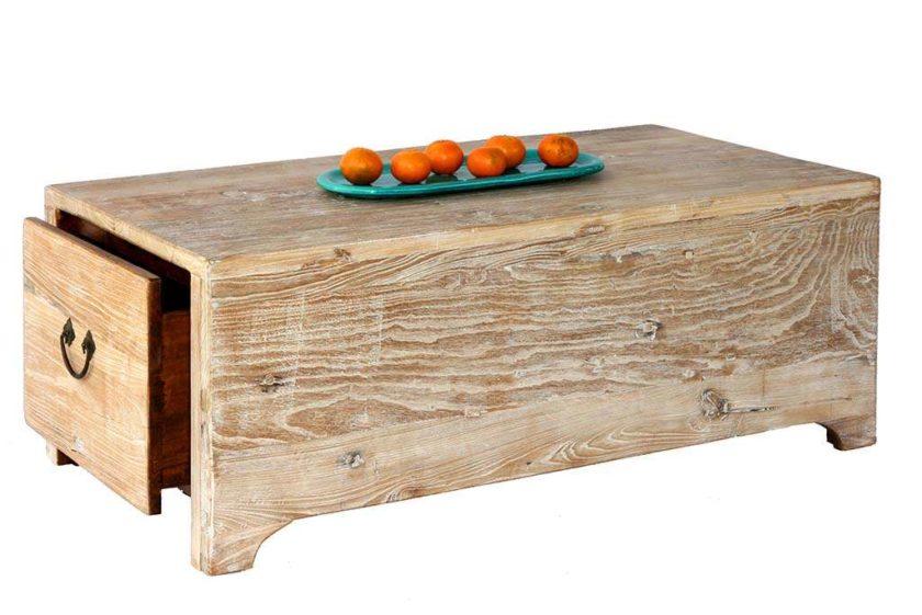 שולחן תיבה מעץ עם מגירות