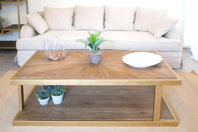 שולחן סלון מלבני עם מדף
