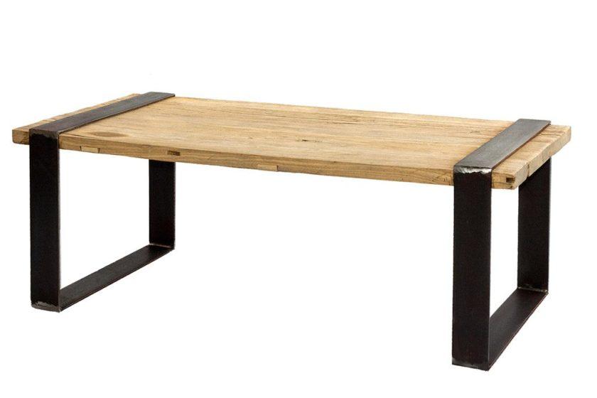 שולחן סלון מעץ וברזל