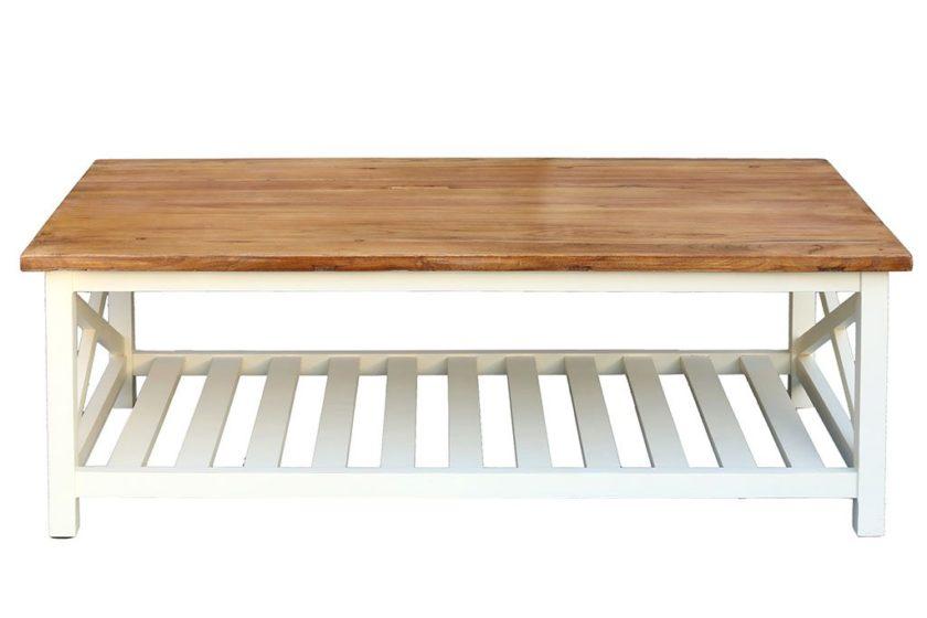 שולחן סלון מעץ ושמנת לבן