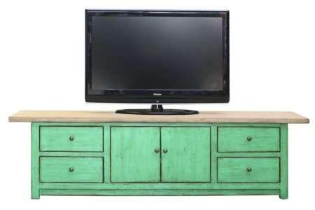 שידת טלוויזיה ירוקה מעץ