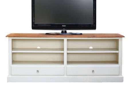 שידת טלוויזיה שמנת עץ מלא