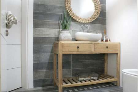 שידת כיור לשירותים מעץ מלא