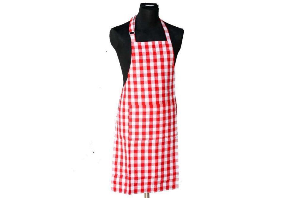 סינר מטבח משובץ אדום לבן פפיטה