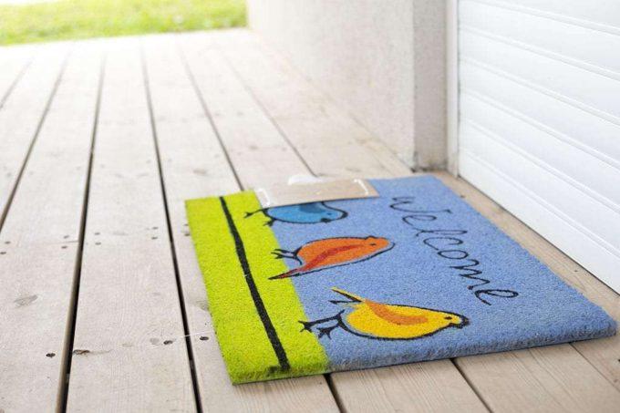 שטיח כניסה ציפורים כחול