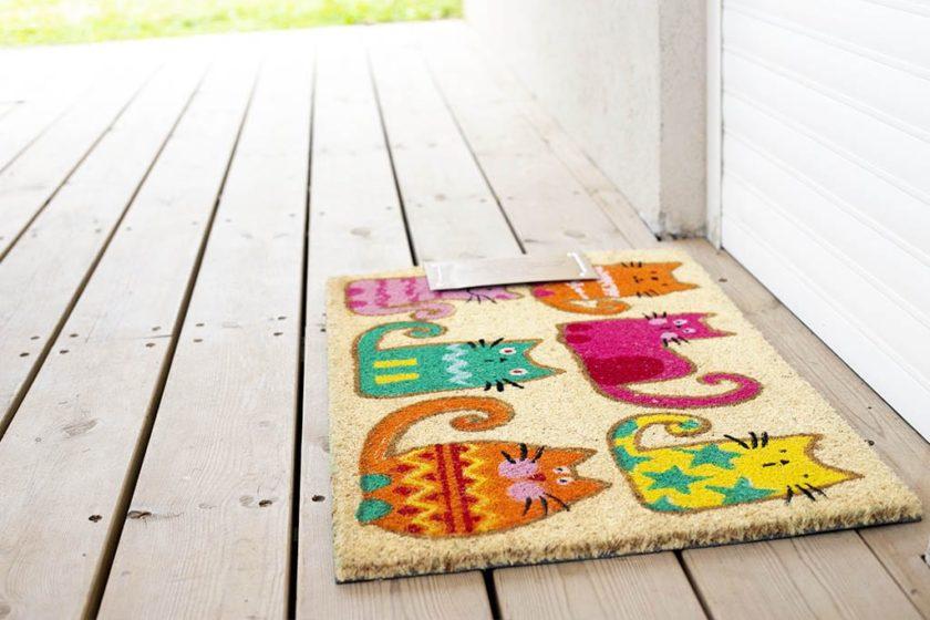 שטיח חתולים צבעוני לכניסה
