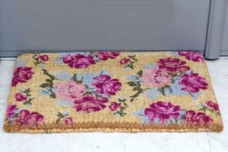 שטיח כניסה עבה פרחים סגולים