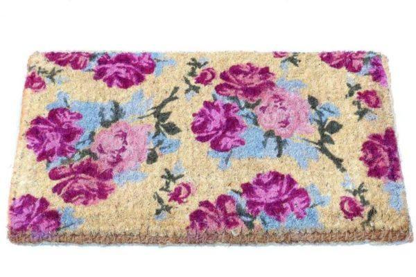 שטיח סף עבה פרחים סגולים