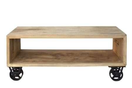 שולחן סלון עם גלגלים מברזל