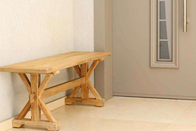 ספסל מעוצב מעץ מלא