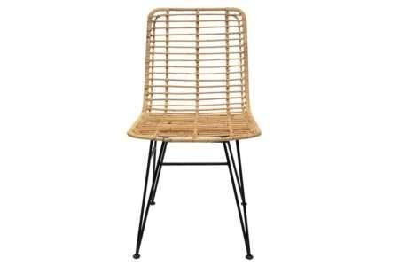 כסא פינת אוכל ברזל ובמבוק