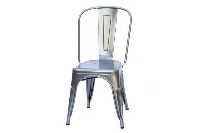 כסא אוכל כסוף ממתכת