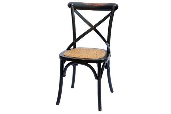 כסא אוכל שחור מעץ מלא