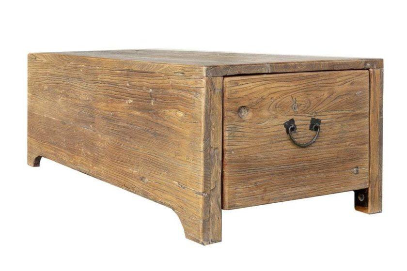 שולחן תיבה טבעי עם מגירות