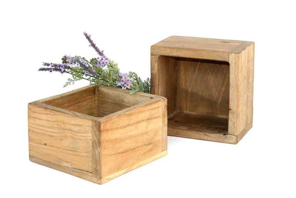 קופסאות עץ מלא בסגנון כפרי