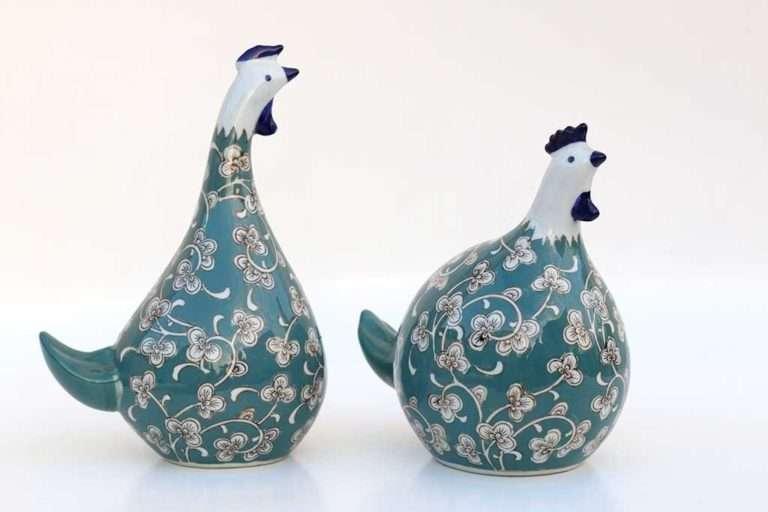 תרנגולים מעוצבים מחרס טורקיז