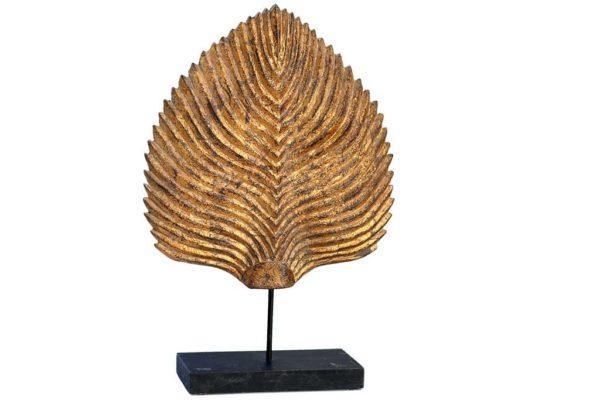 עלה זהב גדול מעץ לעיצוב