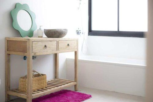 שידת כיור לשירותים מעץ טבעי