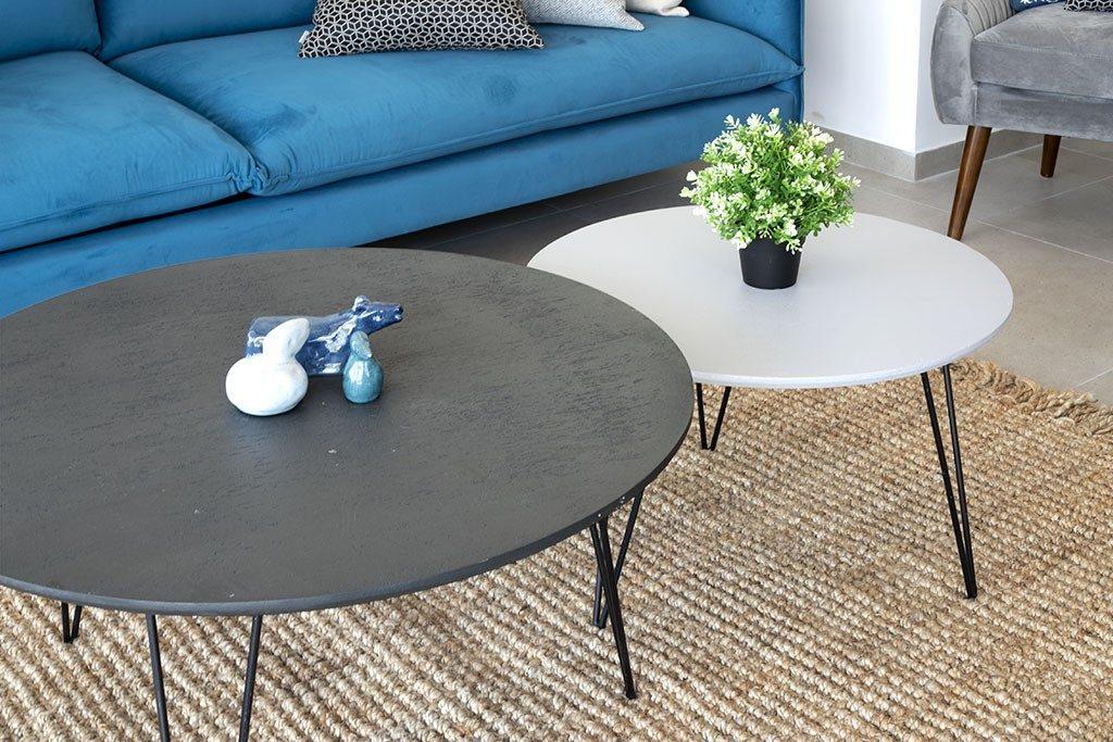 זוג שולחנות קפה עגולים לסלון