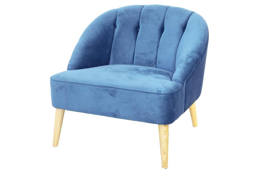 כורסא רחבה כחולה קטיפה