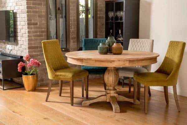שולחן עץ עגול נפתח מעץ