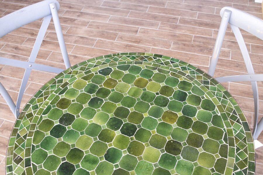 שולחן פסיפס ירוק מרוקאי