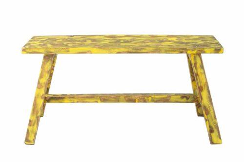 ספסל עץ צהוב