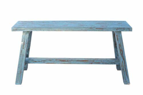 ספסל עץ כחול