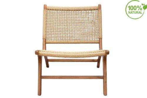 כורסא בסגנון טבעי מעץ וקש