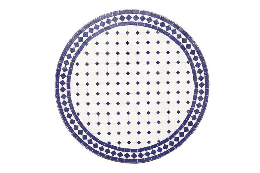 שולחן פסיפס עגול כחול לבן