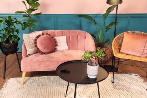 ספה זוגית ורודה